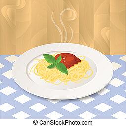 pastas, con, salsa de tomate, y, albahaca, en, un, placa