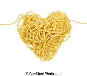 pastas, corazón, (valintine`s, día, theme)