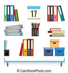 pastas, documentos, illustration., acessórios, vetorial, papelaria, tabela