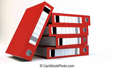 pastas, fundo, sobre, arquivo, branca, pilha, vermelho