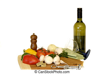 pastas, ingredientes, vegetales