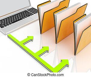 pastas, organizado, laptop, administração, mostra