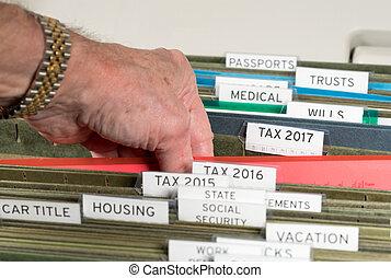 pastas, organizado, sistema, impostos, lar, 2017, arquivamento