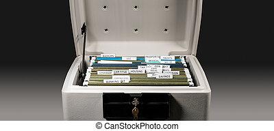 pastas, organizado, sistema, impostos, lar, arquivamento