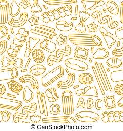 pastas, patrón, variedades, seamless