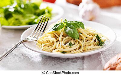 pastas, salsa,  Pesto, Espaguetis, italiano