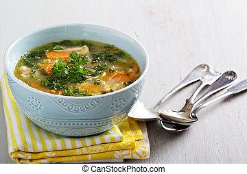 pastas, sopa, pollo, limón