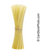 pastas, spagetti, ató, con, un, soga, blanco, plano de fondo