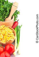 pastas tazón, y, vegetal