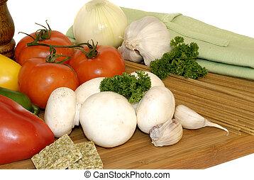 pastas, vegetales, ingredientes