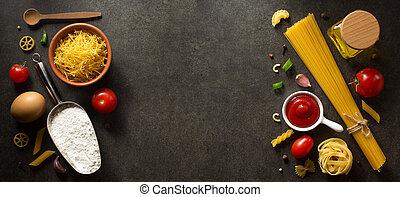 pastas, y, alimento, ingrediente