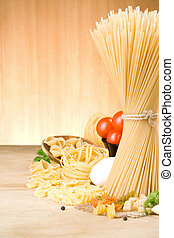 pastas, y, alimento, ingrediente, en, madera, plano de fondo