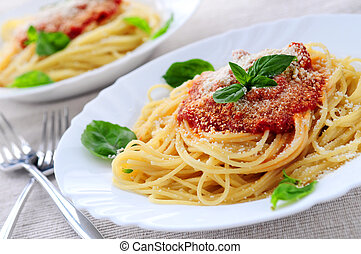 pastas, y, salsa de tomate