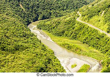 pastaza, río, y, panamericana, camino, disparo aéreo