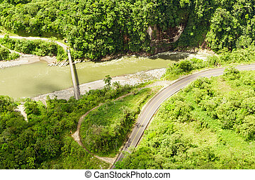 Pastaza River Valley In Ecuadorian Andes And Pan American Road High Altitude Full Size Helicopter Shot