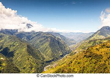 Pastaza Valley Landscape Aerial Shot In Ecuador