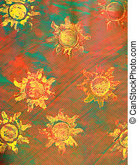 Paste Paper: Yellow Suns on Red and Green Background