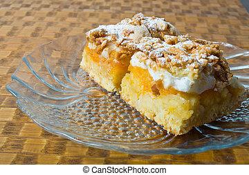 pastei, appel, op, vers, afsluiten, bakt