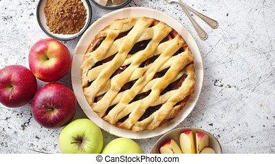 pastei, heerlijk, poeder, appel cake, verse vruchten, bruine...