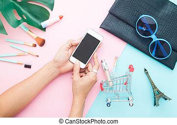 pastel, achats, beauté, mobile, articles, sommet, femme, téléphone, fond, ligne, utilisation, couleur, vue