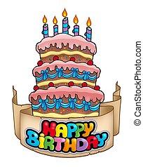 pastel, alto, tema, cumpleaños, feliz