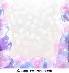 pastel, aniversário, balões, cartão, feliz