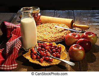 pastel, arándano, manzana, fres, cocido al horno