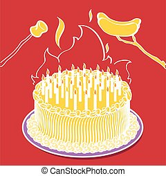 pastel, ardiendo