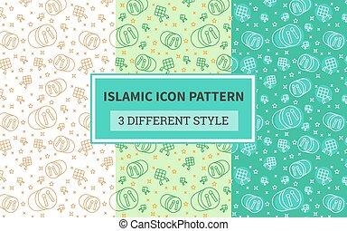 pastel, arroz, percusión, islámico, ketupat, versión, plano, tres, icono, patrón, tambor, liar, design.., hervido, bedug, música, estilo, diferente