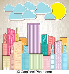 pastel, bâtiments