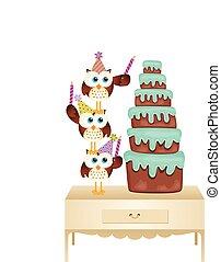 pastel, búhos, vela cumpleaños, poniendo
