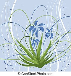 Pastel background with blue snowdrops. Vector illustration