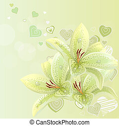 Pastel background with lilies and contour hearts