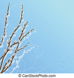 Pastel background with pussy willow