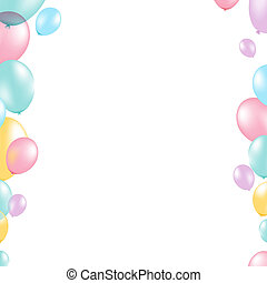 Pastel Balloon Border, With Gradient Mesh, Vector...