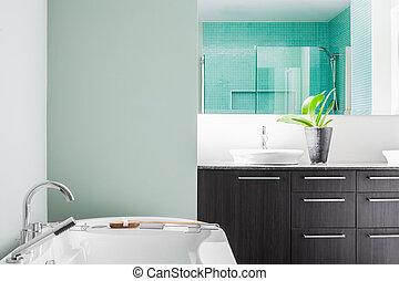 pastel, banheiro, modernos, cores, verde, usando, macio