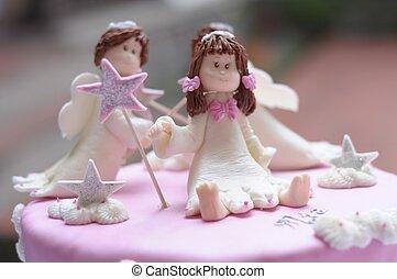 pastel, blanco, muñecas