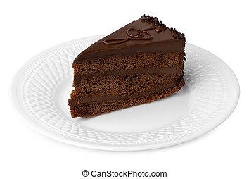 pastel, blanco, pedazo, chocolate, aislado