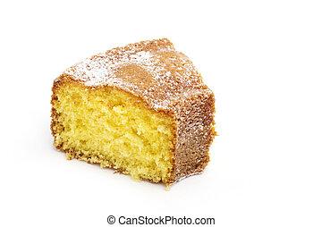 pastel, blanco, rebanada, aislado, plano de fondo