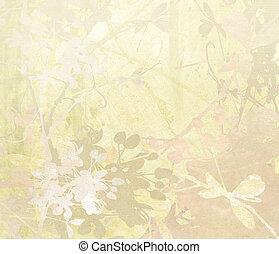 pastel, blomst, kunst, på, avis, baggrund