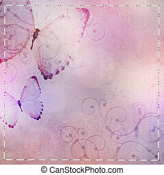 pastel  blue and purple  background with butterfly