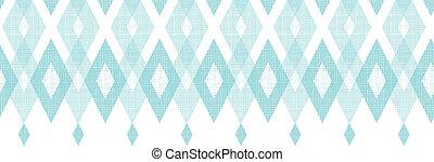 Pastel blue fabric ikat diamond horizontal seamless pattern background