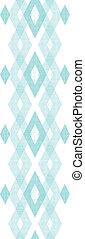 Pastel blue fabric ikat diamond vertical seamless pattern background