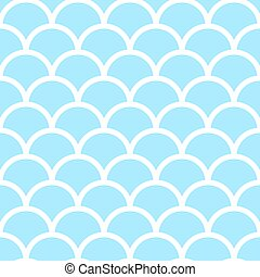 Pastel blue fish scales - Seamless pattern. Pastel blue fish...
