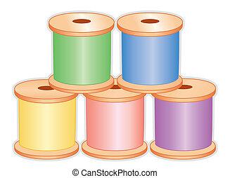 pastel, bobines, fil