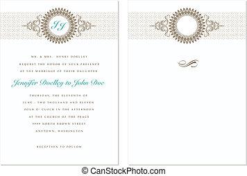 pastel, cadre, vecteur, ensemble, mariage