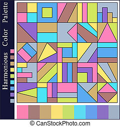 Pastel Calm Harmonious Color Palette with Geometric Composition of Blue, Brown, Green, Pink, Violet, Yellow, Grey  Squares.