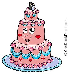 pastel, caricatura, boda