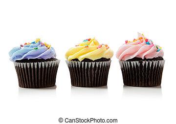 Pastel chocolate cupcakes on white