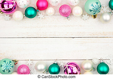 Pastel Christmas bauble double border over white wood